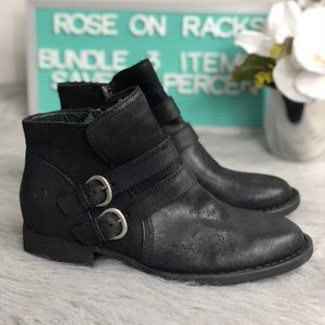 Born Distressed Oiled Leather Pirlo Buckle Bootie